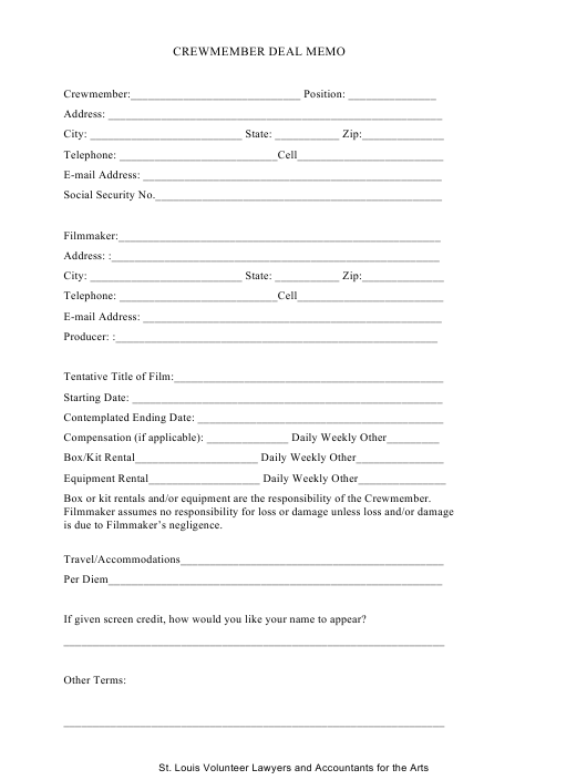 """""""Crewmember Deal Memo Template - St. Louis Volunteer Lawyers and Accountants for the Arts"""" Download Pdf"""