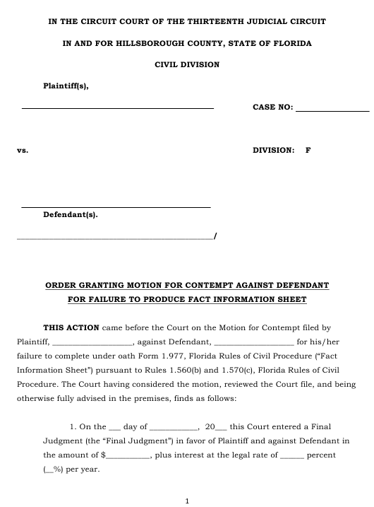 hillsborough county  florida order granting motion for contempt against defendant for failure to