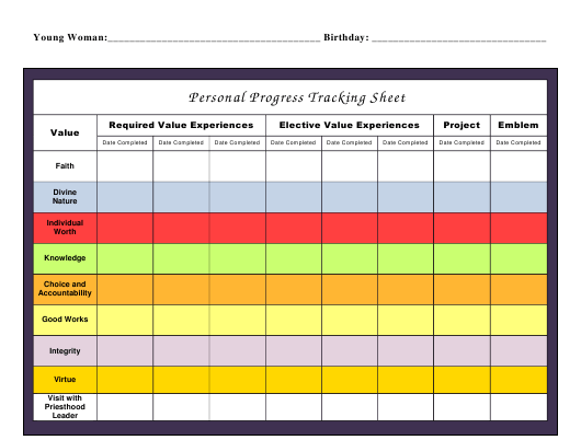 """Personal Progress Tracking Sheet Template"" Download Pdf"