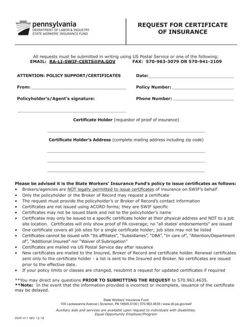 Form SWIF-411  Printable Pdf