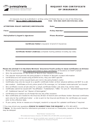 """Form SWIF-411 """"Request for Certificate of Insurance"""" - Pennsylvania"""