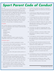 """""""Sport Parent Code of Conduct Template"""""""