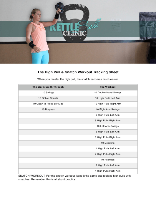 """""""The High Pull & Snatch Workout Tracking Sheet Template - Kettlebell Clinic"""" Download Pdf"""