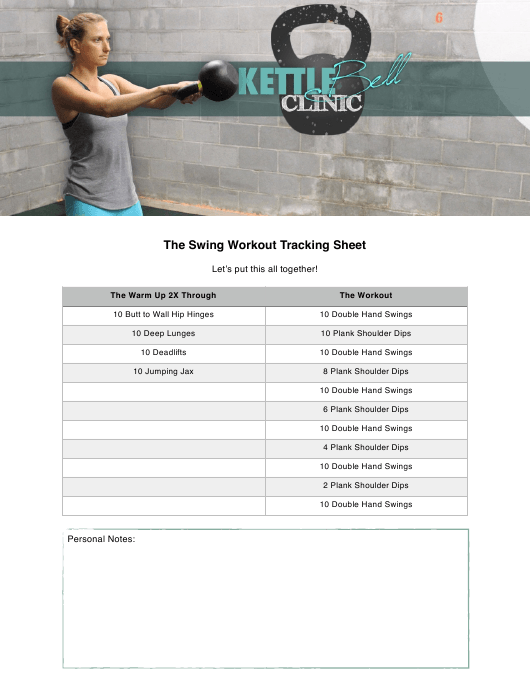 """The Swing Workout Tracking Sheet Template - Kettlebell Clinic"" Download Pdf"