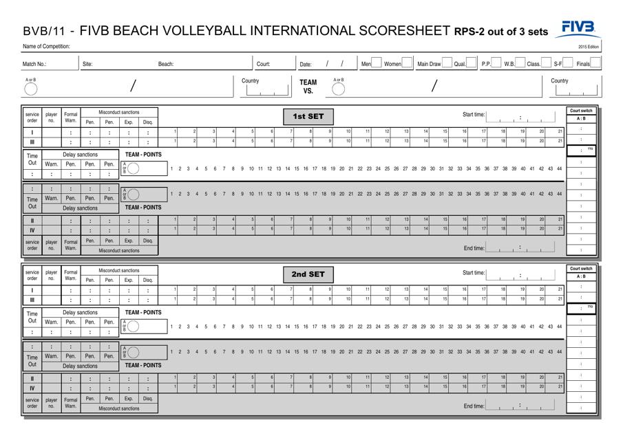 """Fivb Beach Volleyball International Scoresheet - Federation Internationale De Volleyball"" Download Pdf"