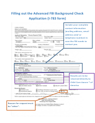 """Instructions for Form I-783 """"Advanced Fbi Background Check Application"""""""