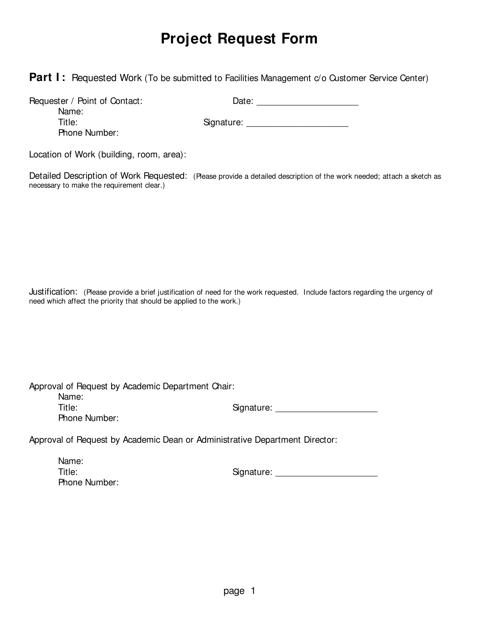 """Project Request Form"" Download Pdf"
