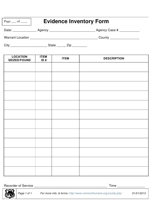 evidence inventory form download pdf
