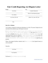 """""""Fair Credit Reporting Act Dispute Letter"""""""