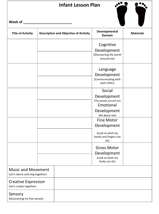 Infant Lesson Plan Template Download Printable Pdf Templateroller
