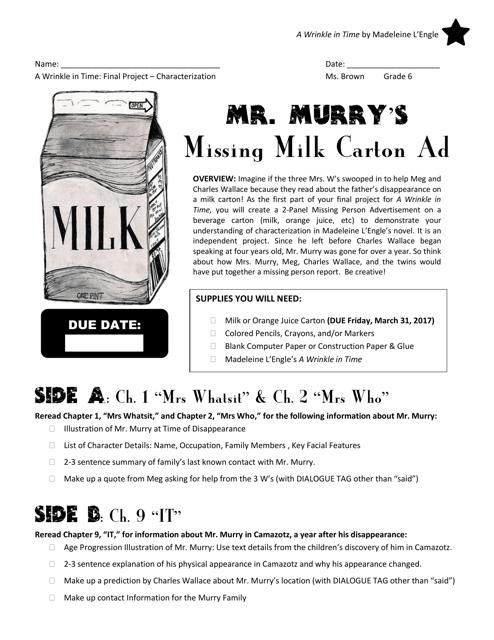 milk carton template mr murry s download printable pdf