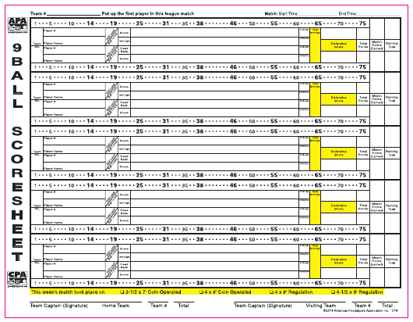 9-ball score sheet