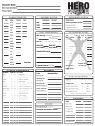 """Hero System Sixth Edition Character Sheet"""