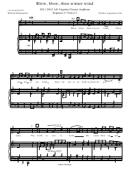 """Thomas Augustine Arne - Blow, Blow, Thou Winter Wind Piano Sheet Music"""