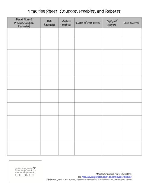 """Tracking Sheet Template: Coupons, Freebies, and Rebates - Coupon Christine"" Download Pdf"