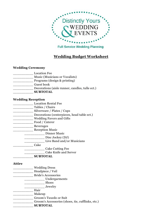 """Wedding Budget Spreadsheet Template - Distinctly Yours Wedding and Events"" Download Pdf"