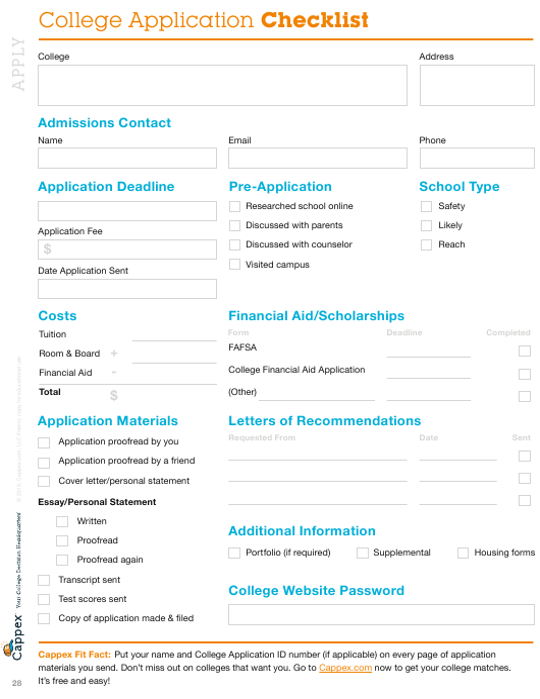 """College Application Checklist Template - Cappex"" Download Pdf"