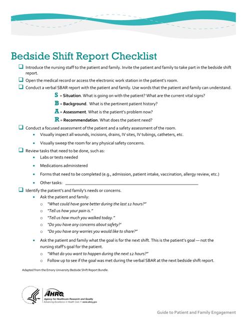 """""""Bedside Shift Report Checklist"""" Download Pdf"""