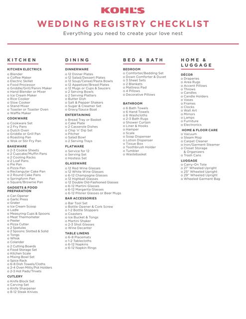 """Wedding Registry Checklist - Kohl's"" Download Pdf"