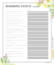 """Wedding Venue Checklist Template"""