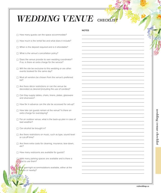 """""""Wedding Venue Checklist Template"""" Download Pdf"""