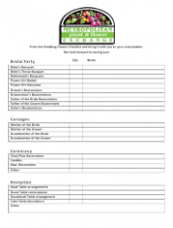 Wedding Flower Checklist Template - Metropolitan Exchange