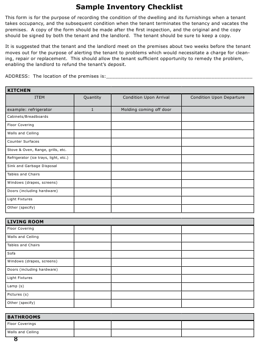 """""""Sample Inventory Checklist Template"""" Download Pdf"""