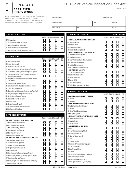 200-point vehicle inspection checklist template