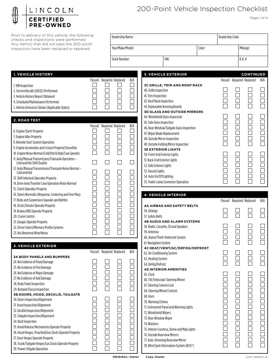 """""""200-point Vehicle Inspection Checklist Template -lincoln"""" Download Pdf"""