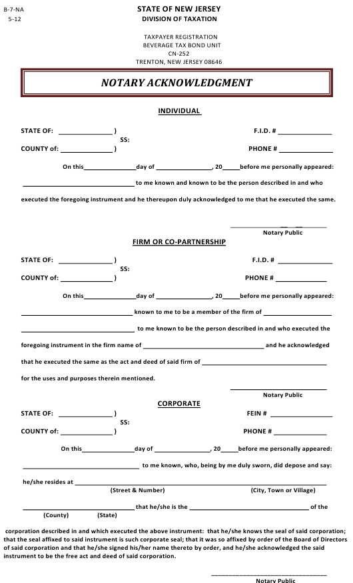 Form B-7-NA  Printable Pdf