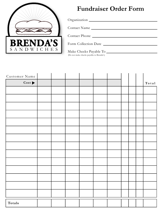 """Fundraiser Order Form - Brenda's Sandwiches"" Download Pdf"