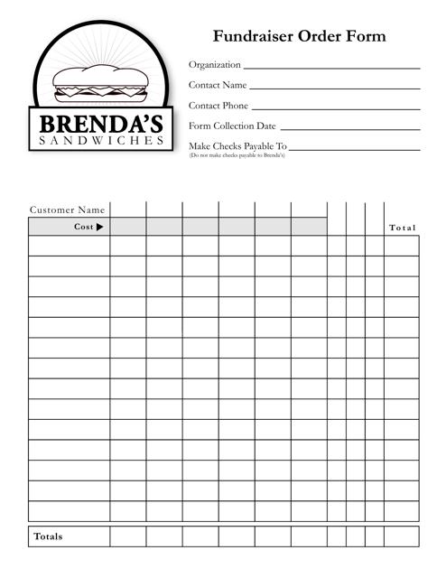 Fundraiser Order Form - Brenda\'s Sandwiches Download Fillable PDF ...