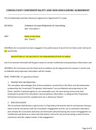 Consultant Confidentiality and Non-disclosure Agreement Template