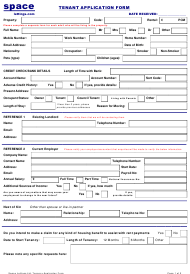 Tenant Application Form - Space Lettings Ltd