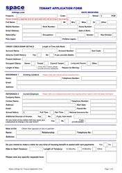"""Tenant Application Form - Space Lettings Ltd"""