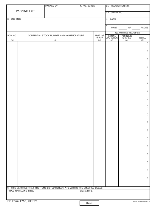 DD Form 1750  Fillable Pdf