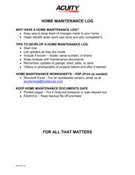 Form M-477 Home Maintenance Log Template - Acuity
