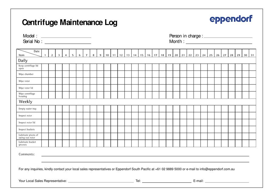 """Centrifuge Maintenance Log Template - Eppendorf"" Download Pdf"