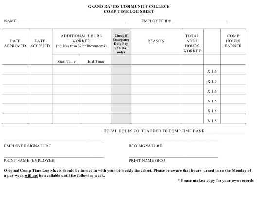 comp time log sheet grand rapids community college download