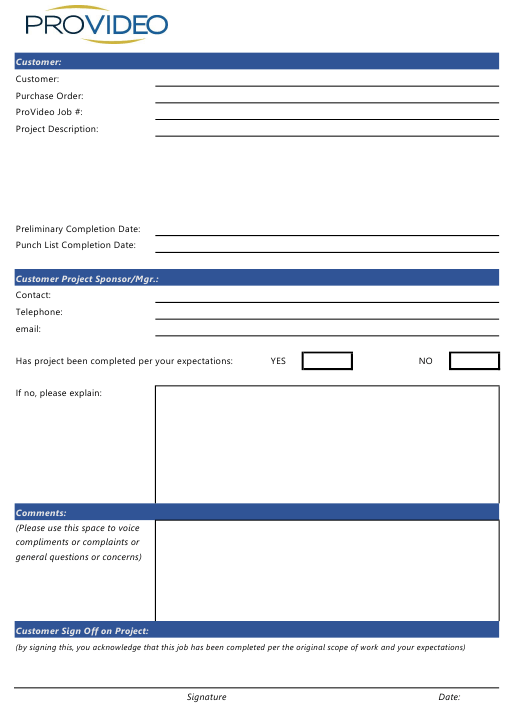 """Customer Project Sign-Off Form - Provideo"" Download Pdf"