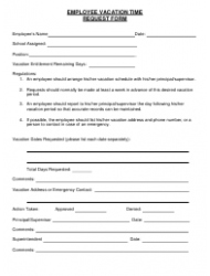Employee Vacation Time Request Form