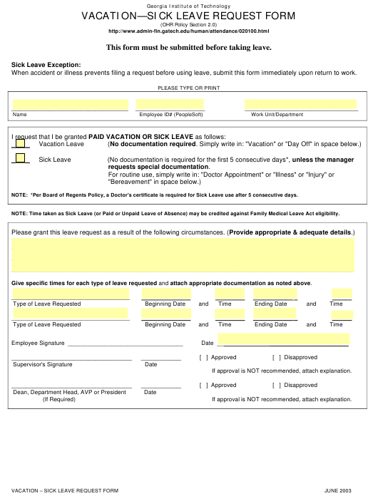 """Vacation - Sick Leave Request Form - Georgia Institute of Technology"" Download Pdf"