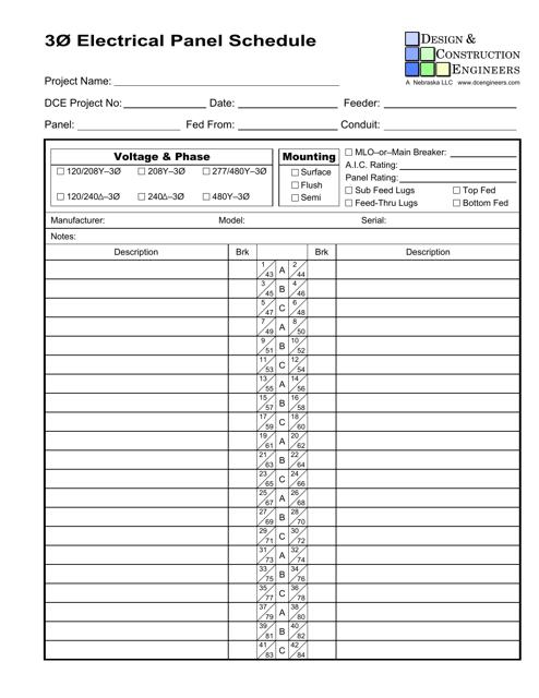 """Electrical Panel Schedule Template - Design & Construction Engineers"" - Nebraska Download Pdf"