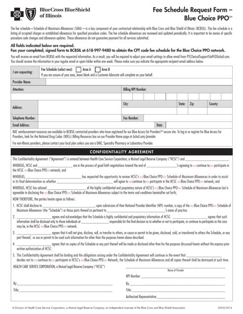 """Fee Schedule Request Form - Bluecross Blueshield"" - Illinois Download Pdf"