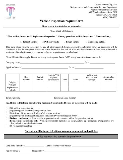 """Vehicle Inspection Request Form"" - City of Kansas, Missouri Download Pdf"