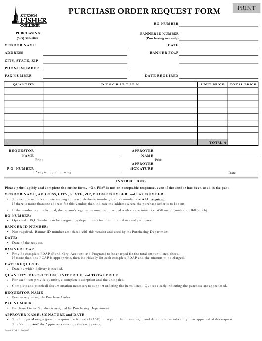"""Purchase Order Request Form - St John Fisher Collage"" Download Pdf"