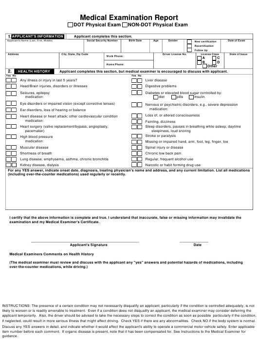 """Medical Examination Report Template"" Download Pdf"