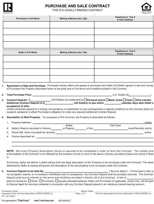 Purchase and Sale Contract Form - Vermont Association of Realtors, Inc Download Pdf