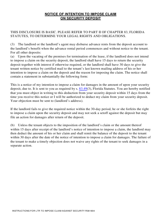 """Notice of Intention to Impose Claim on Security Deposit"" - Florida Download Pdf"