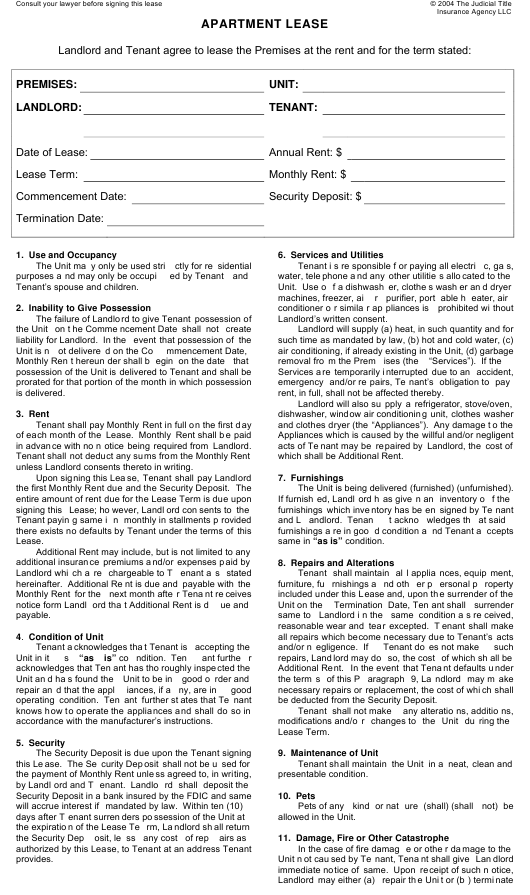 Apartment Lease Agreement Template Download Fillable Pdf